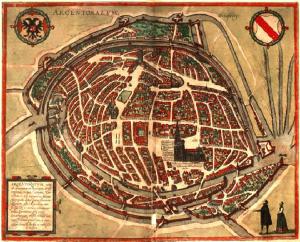 Pianta della città di Strasburgo nel Civitates Orbis Terrarum, 1572